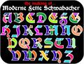 Illustration of font Moderne 3D Schwabacher
