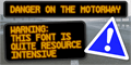 Illustration of font Danger on the Motorway