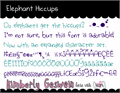 Illustration of font Elephant Hiccups