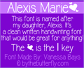 Illustration of font Alexis Marie
