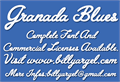 Illustration of font Granada Blues Personal Use