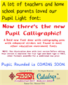 Illustration of font Pupil Caligraphic