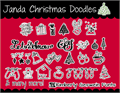 Illustration of font Janda Christmas Doodles