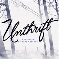 Sample image of Unthrift Personal font by Måns Grebäck