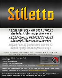Sample image of Stiletto font by Hareesh Seela
