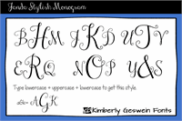 Sample image of Janda Stylish Monogram font by Kimberly Geswein