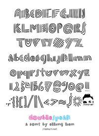 Sample image of doublespeak font by Elling Lien