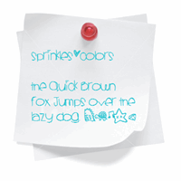 Sample image of Sprinklescolors font by Des