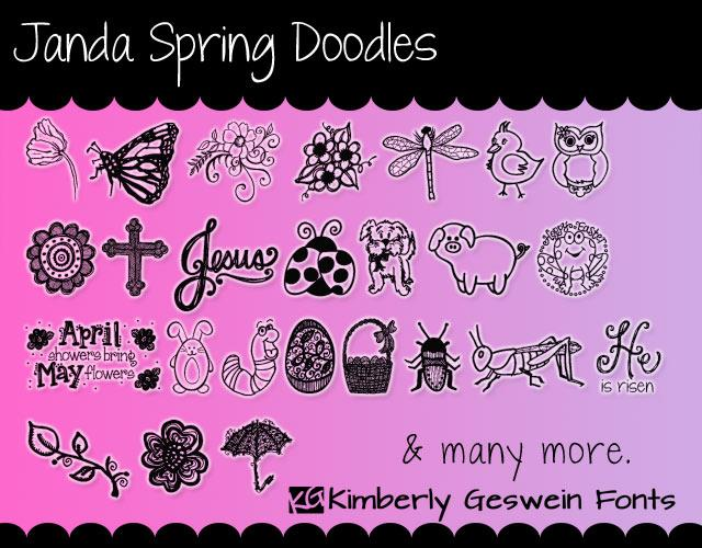 Janda Spring Doodles font by Kimberly Geswein