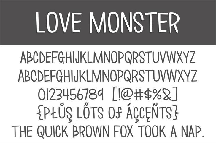 love  u221e monster font by brittney murphy design