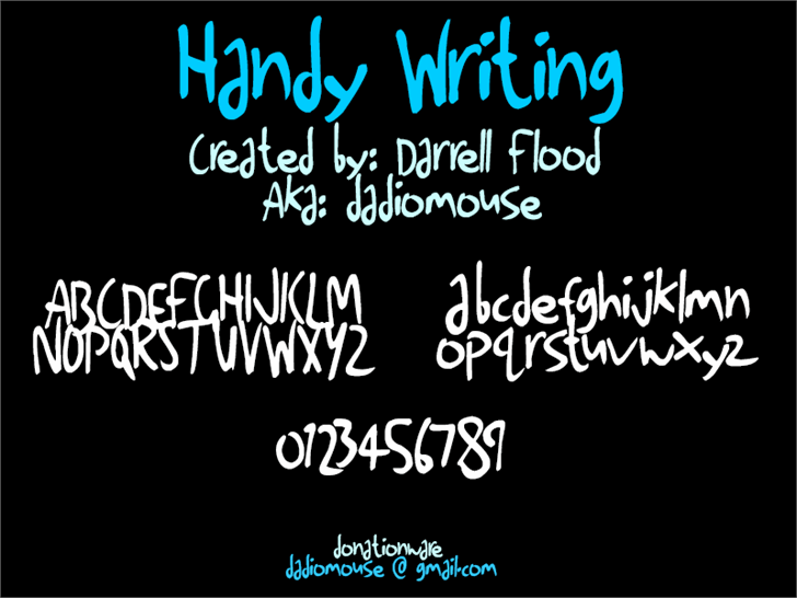 Handy Writing font by Darrell Flood