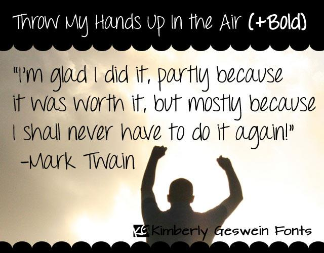 Image for Throw My Hands Up in the Air font