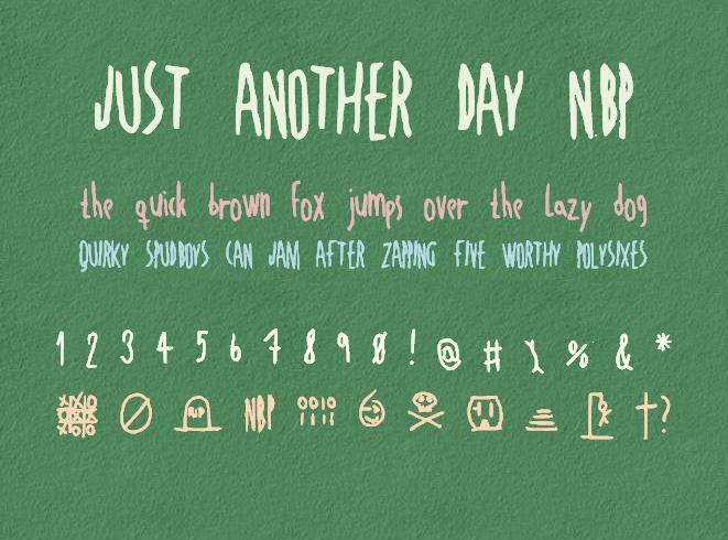JustAnotherDayNBP font by total FontGeek DTF, Ltd.