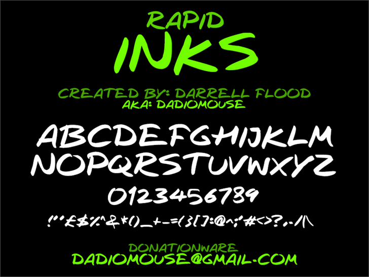 Rapid Inks font by Darrell Flood