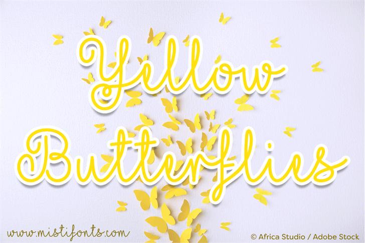 Mf Yellow Butterflies font by Misti's Fonts