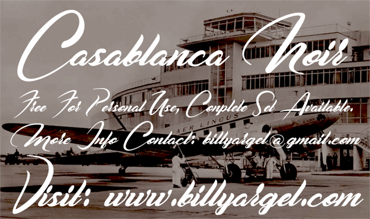 Casablanca Noir Personal Use font by Billy Argel