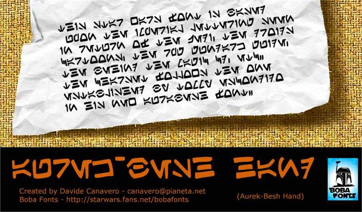 Aurek-Besh Hand font by Boba Fonts