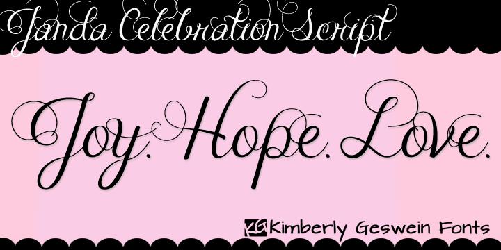 Janda Celebration Script font by Kimberly Geswein