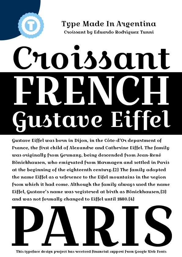 Croissant One font by Eduardo Tunni
