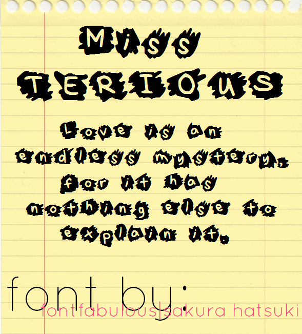 MissTerious font by fluffybanana101