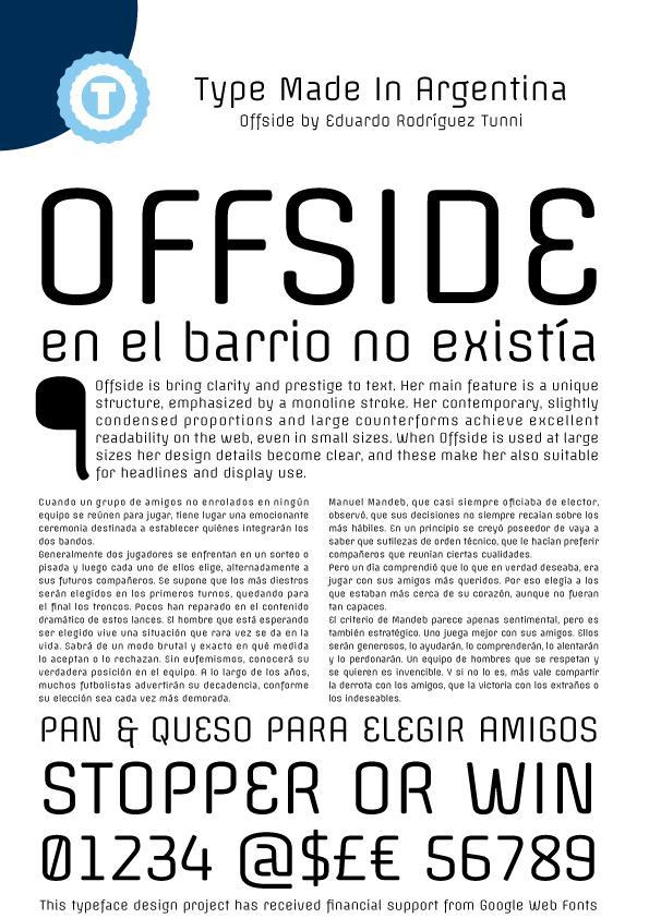 Offside font by Eduardo Tunni