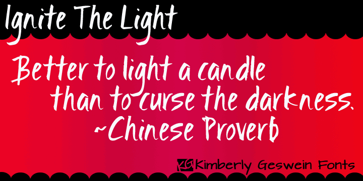 Ignite the Light font by Kimberly Geswein