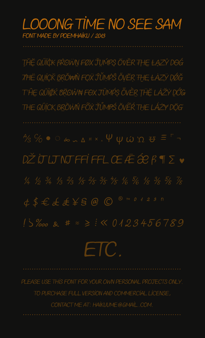 Image for Looong time no see Sam Demo font