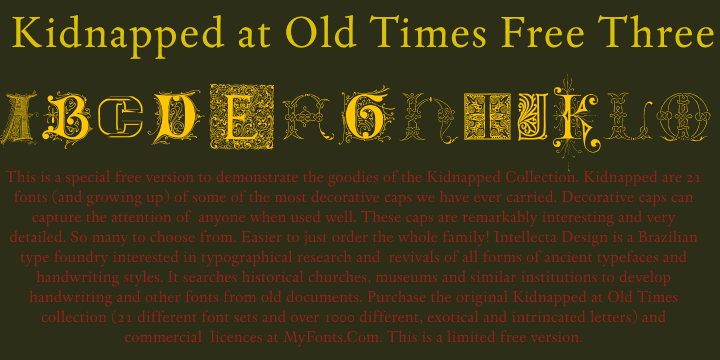 Image for Kidnapped At Old Times Free 3 font