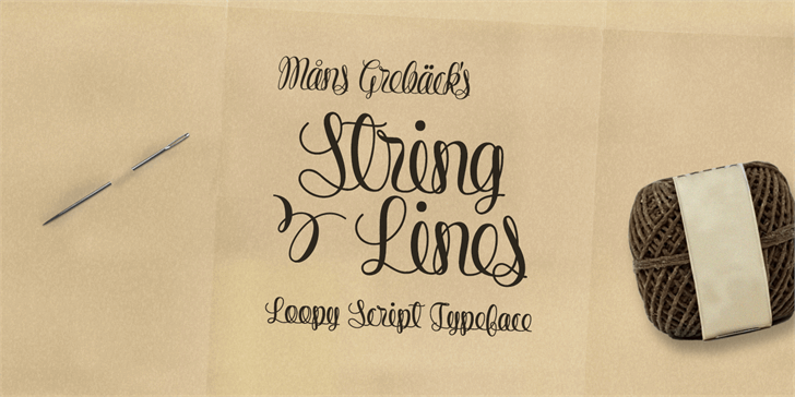 String Lines PERSONAL USE ONLY font by Måns Grebäck