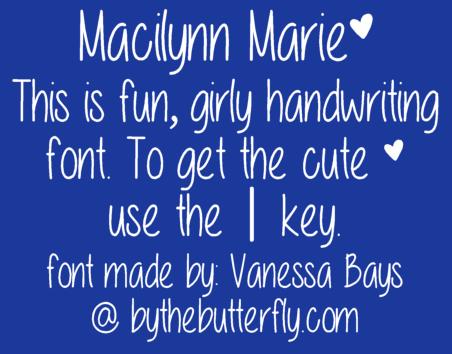 Image for Macilynn Marie font