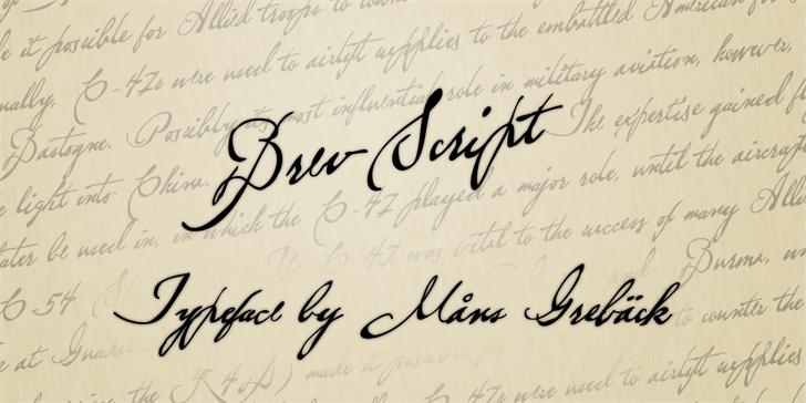 Brev Script Personal Use font by Måns Grebäck