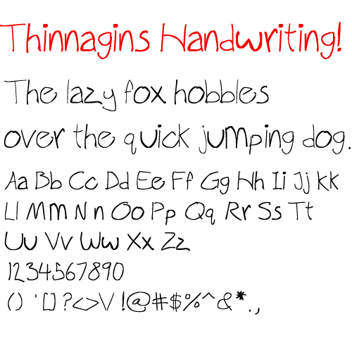 Image for Thinnagins handwriting font
