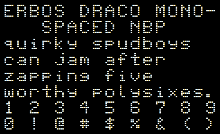 Erbos Draco Monospaced NBP font by total FontGeek DTF, Ltd.