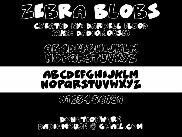 ZeBrA bLoBs font by Darrell Flood