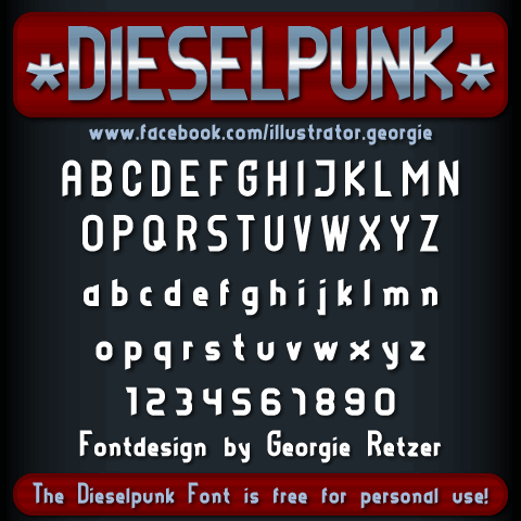 DIESELPUNK font by Illustrator Georgie Retzer
