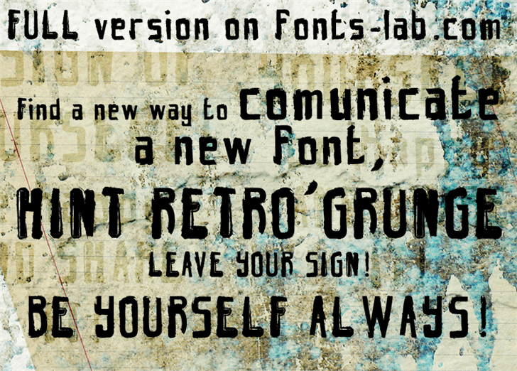 Image for hint-retrò-grunge_free-version font