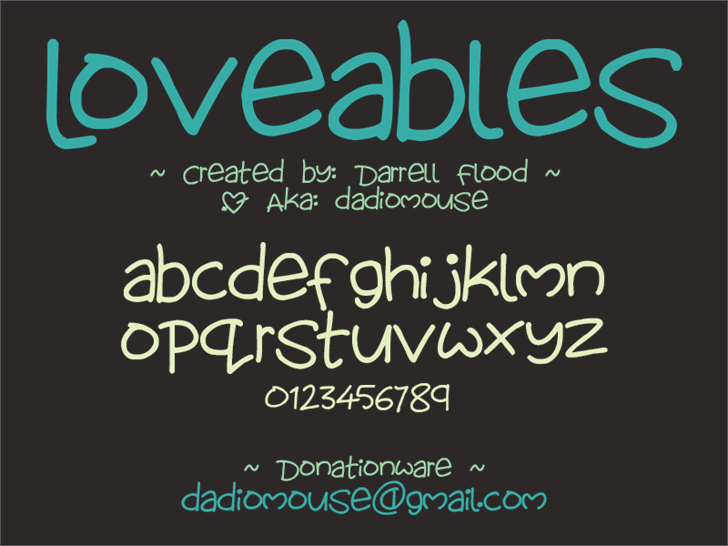 Lovables font by Darrell Flood