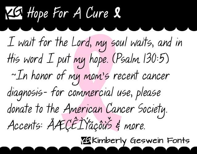 Image for KG Hope For A Cure font