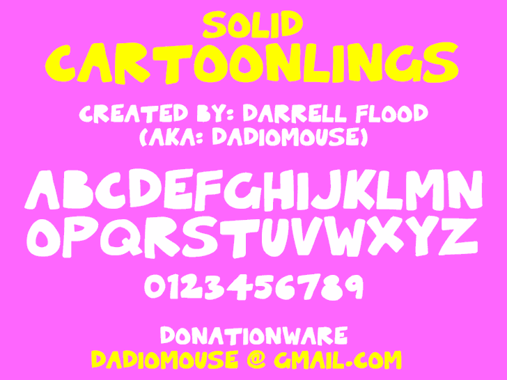 Solid Cartoonlings font by Darrell Flood