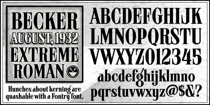 ARB 08 Extreme Roman AUG-32 CAS font by the Fontry