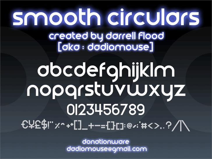 Smooth Circulars font by Darrell Flood