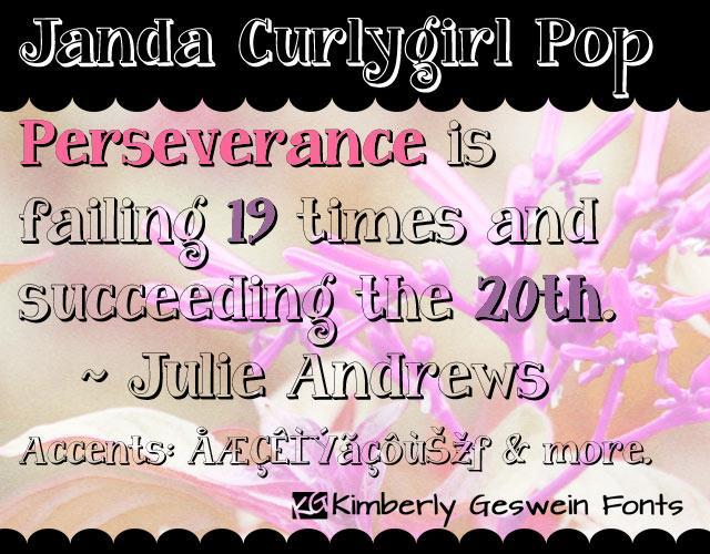 Image for Janda Curlygirl Pop font