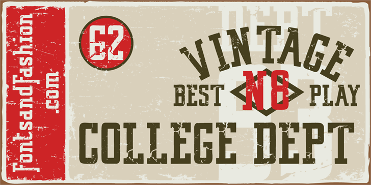 VINTAGE COLLEGE DEPT_DEMO_worn font by Fontsandfashion