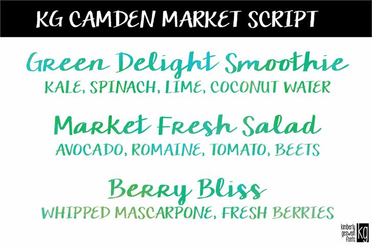 KG Camden Market Script font by Kimberly Geswein