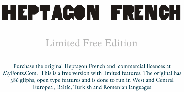 Image for HeptagonFrench Limited Free Edi font