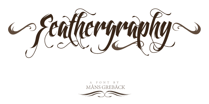 Feathergraphy Decoration font by Måns Grebäck