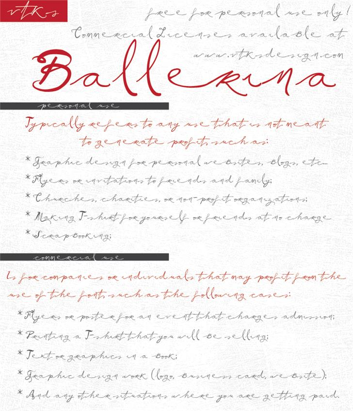Image for Vtks Ballerina font