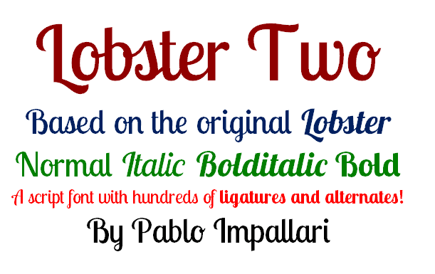 Lobster Two font by Pablo Impallari