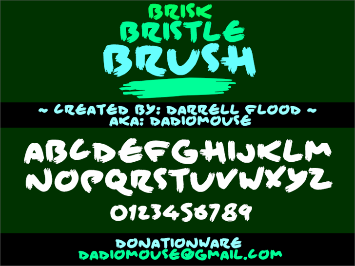 Brisk Bristle Brush font by Darrell Flood