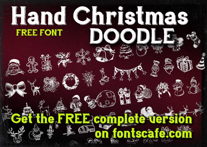Hand Christmas Doodle font by FontsCafe